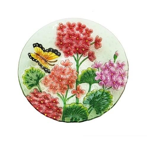 Birdbath Bowl - Crushed Glass Butterfly Floral