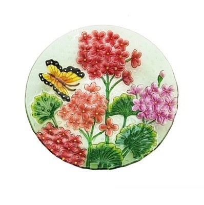 Birdbath Bowl - Crushed Glass Butterfly Floral