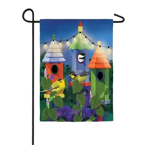 Garden Flag - Solar Birdhouse Lights