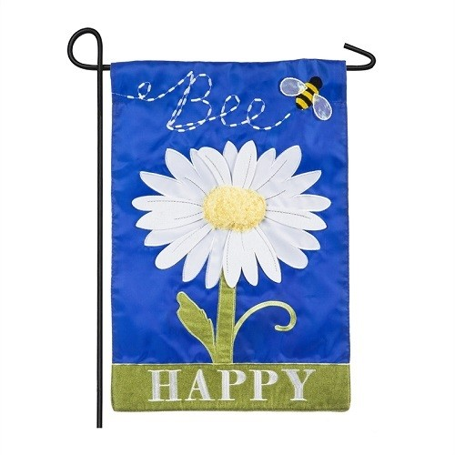 Garden Flag - Bee Happy Daisy