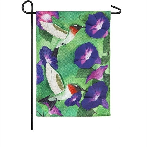 Garden Flag - Morning Glory Hummingbirds