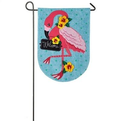 Garden Flag -  Welcome Flamingo