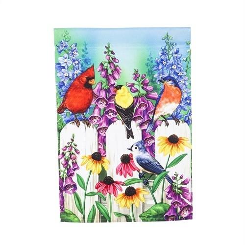 Garden Flag - Birds on Fence