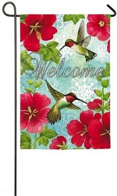Garden Flag - Hummingbirds & Hollyhock