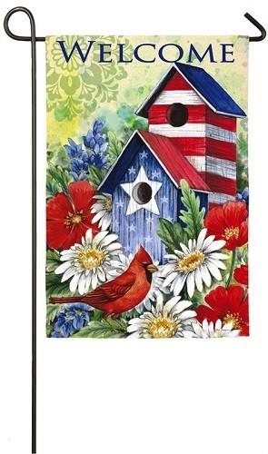 Garden Flag - Patriotic Birdhouse