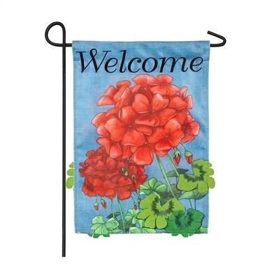 Garden Flag - Geranium Welcome