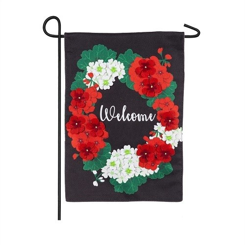 Garden Flag - Welcome Geraniums