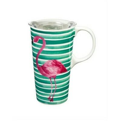 Travel Mug - Striped Flamingo