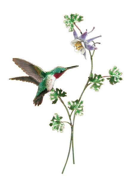 Bovano - Hummingbird with Columbine