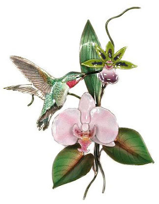 Bovano - Hummingbird with Orchid
