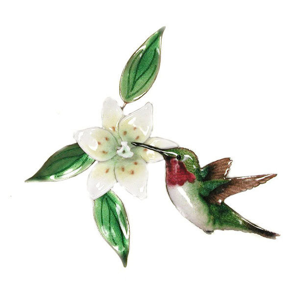 Bovano - Hummingbird with Wood Lily Single