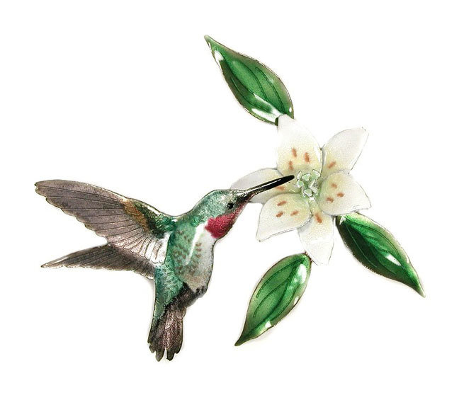 Bovano - Hummingbird with Wood Lily Flower