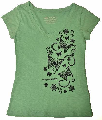 T-Shirt - Mint Butterfly V-Neck