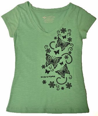 T-Shirt - Mint Butterfly V-Neck
