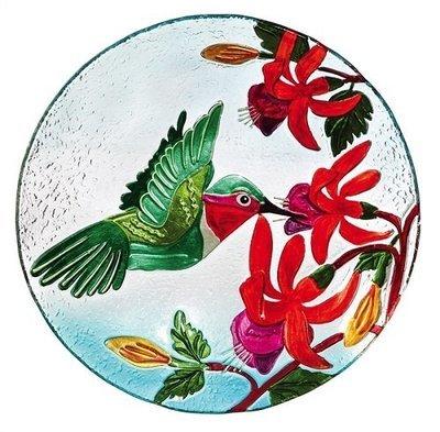 Birdbath Bowl - Hummingbird & Flower