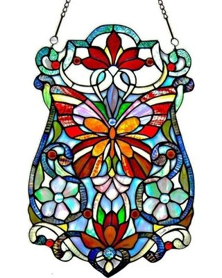 Panel - Stained Glass Butterfly & Flowers