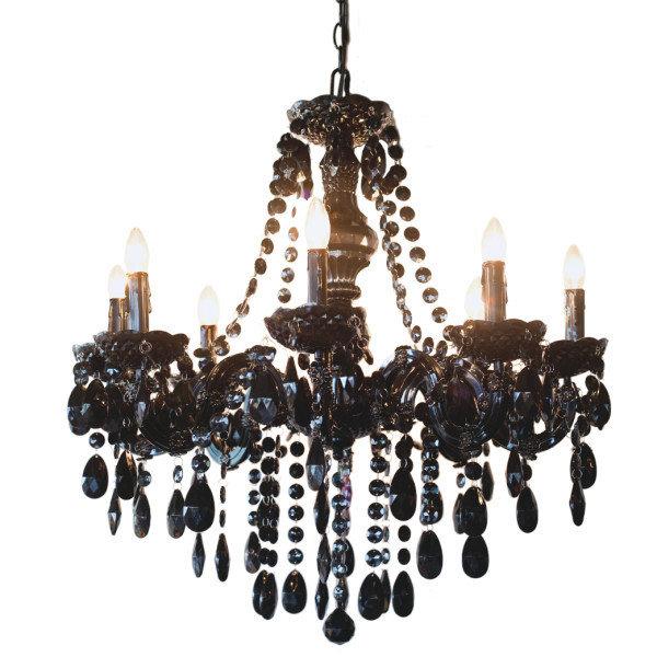 Lamp - Black Jeweled Chandelier