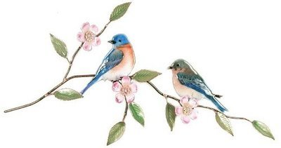 Bovano - Bluebird Pair on Apple Blossom