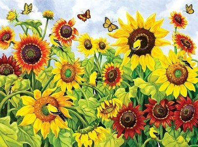 Puzzle - Sunflowers & Finches