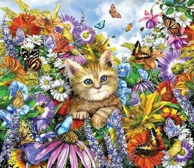 Puzzle - Kitty in the Garden