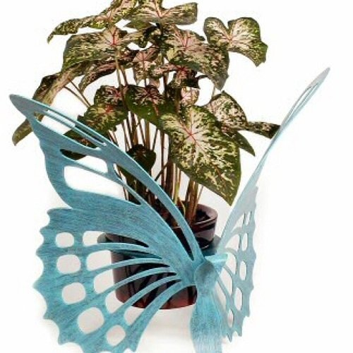 Painted Steel Butterfly Plant Holder