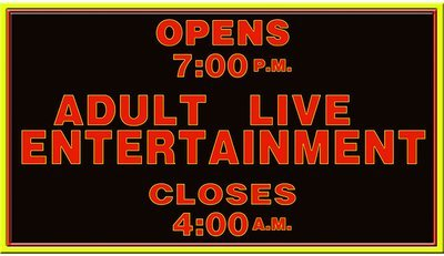 ADULT LIVE ENTERTAINMENT * 5'' x 11''