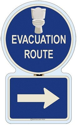 EVACUATION RIGHT BATHROOM * 7'' x 11''
