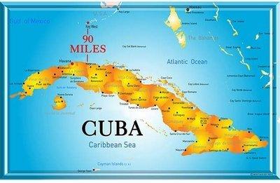 CUBA MAP * 7'' x 11''