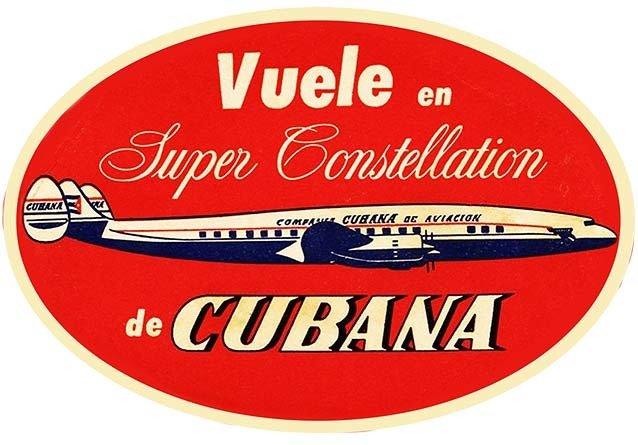 CUBANA AIRLINES VINTAGE LABEL * 8'' x 11''