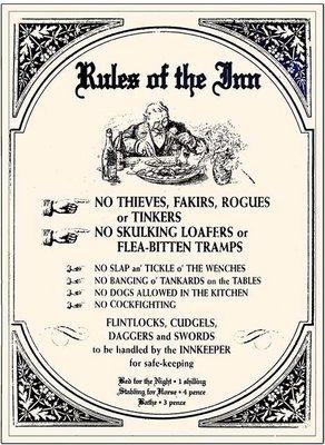 RULES OF THE INN * 8'' x 11''
