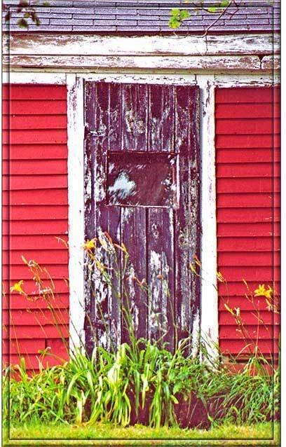 BLACK DOOR ON RED * 5'' x 11''