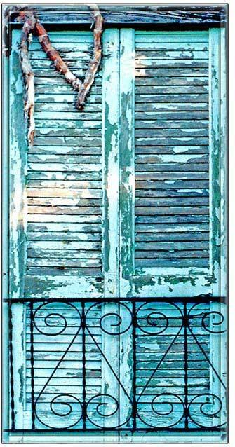 BLUE SHUTTERS WITH RAIL * 4'' x 11''