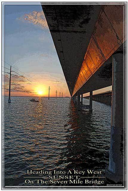 7 MILE BRIDGE SUNSET BELOW * 7'' x 11''