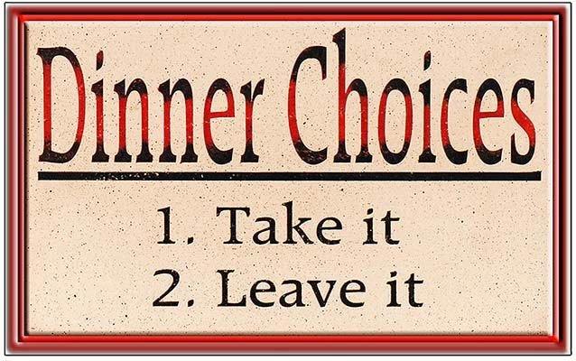 DINNER CHOICES * 6'' x 11''