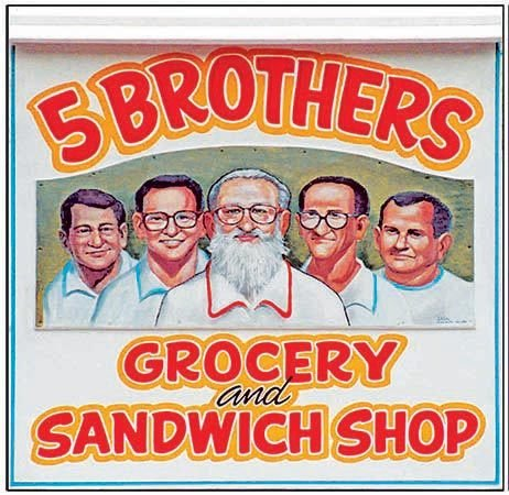 5 BROTHERS SIGN * 8'' x 8'' 10358