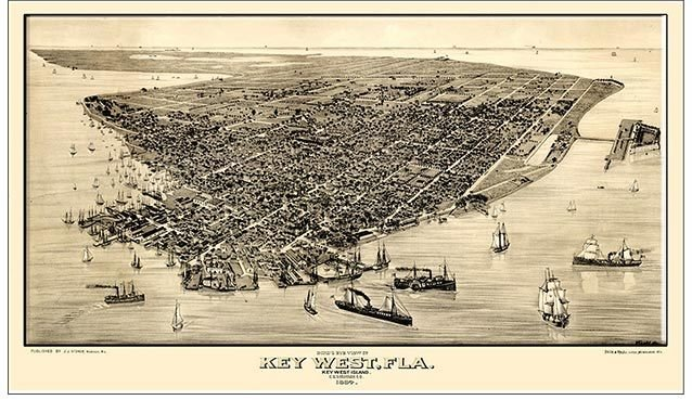 BIRDS EYE VIEW OF KEY WEST * 7'' x 11'' 10486