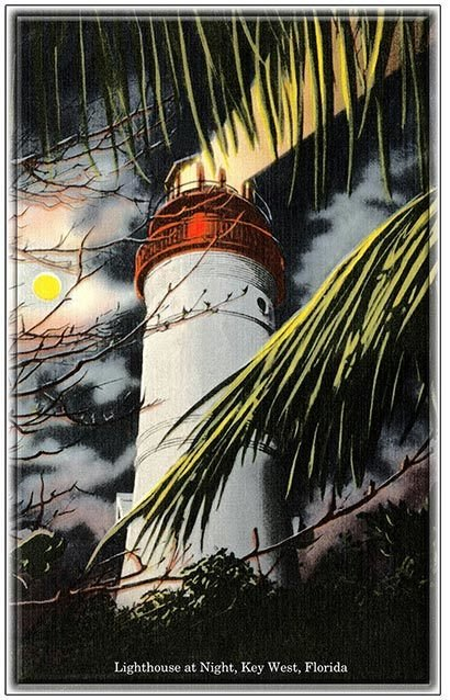 KEY WEST LIGHTHOUSE BY NIGHT  * 6'' x 11'' 10500