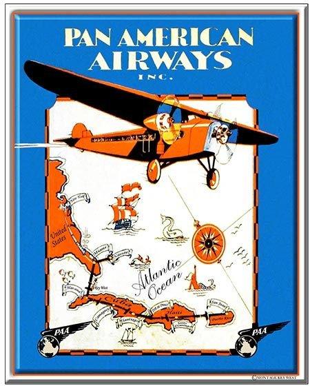 PA AM AIRWAYS MAP * 7'' x 11''