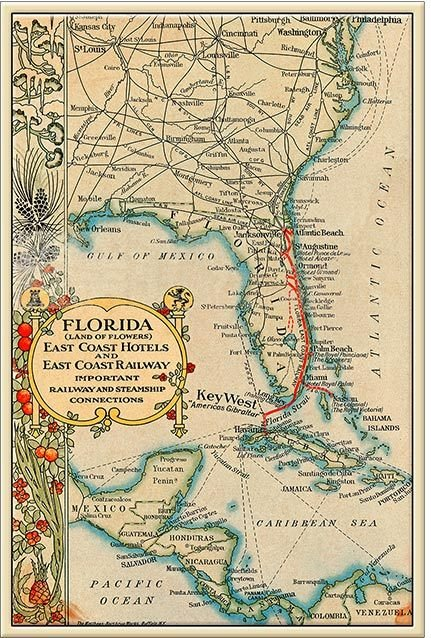 TRAIN ROUTE MAP TO CUBA * 7'' x 11'' 10581