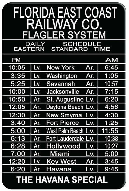 FLORIDA RAILWAY SCHEDULE NY TO CUBA * 7'' x 11'' 10585