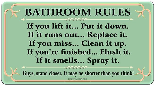 BATHROOM RULES GREEN * 6'' x 11'' 10592