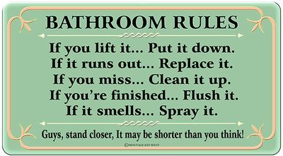 BATHROOM RULES GREEN * 6'' x 11''