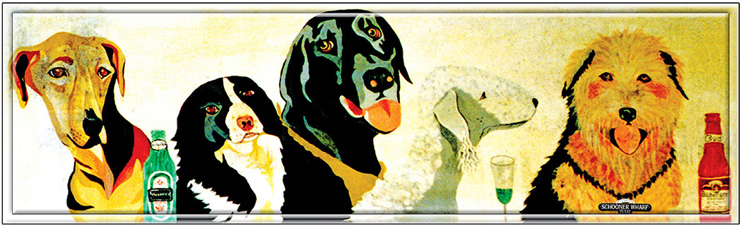 DOG'S AT BAR * 4'' x 16'' 10609