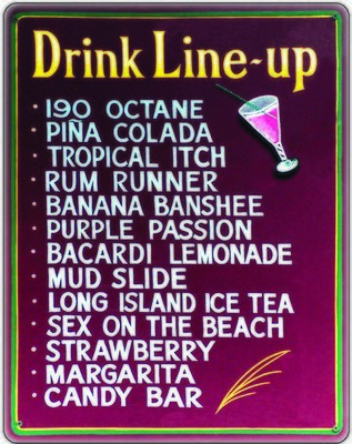 DRINK LINE UP * 7'' x 11''
