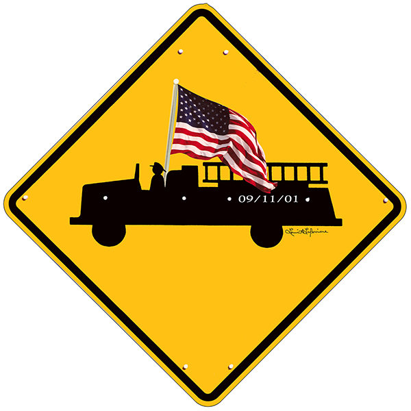 FIRE TRUCK SIGN WITH FLAG * 8'' x 8'' 10617