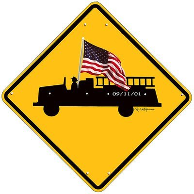FIRE TRUCK SIGN WITH FLAG * 8'' x 8''