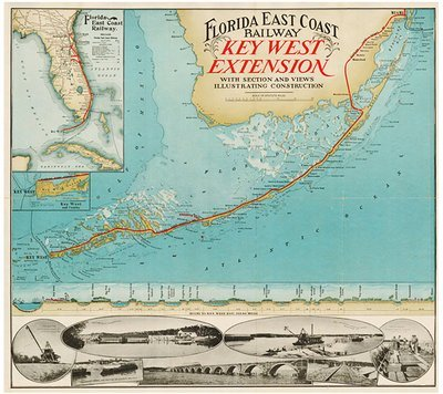 KEY WEST RAILWAY EXTENSION MAP * 8'' x 9''
