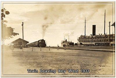 TRAIN LEAVING KEY WEST * 7'' x 11''