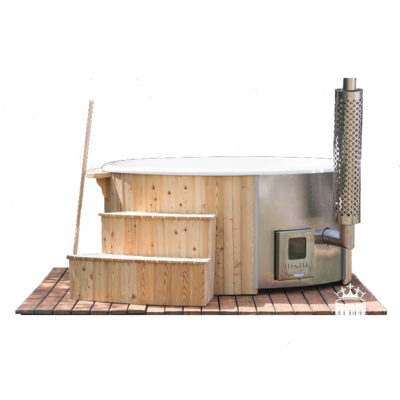 1.8m Fibreglass Wood Fired Hot Tub