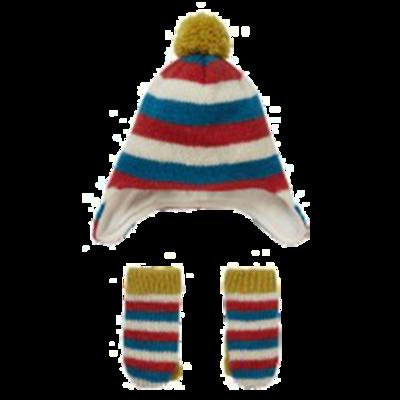 Knit Stripey Hat & Mitten Set